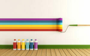 Different colours painted on wall