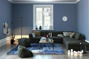Living room in blue, the colour trend for 2017